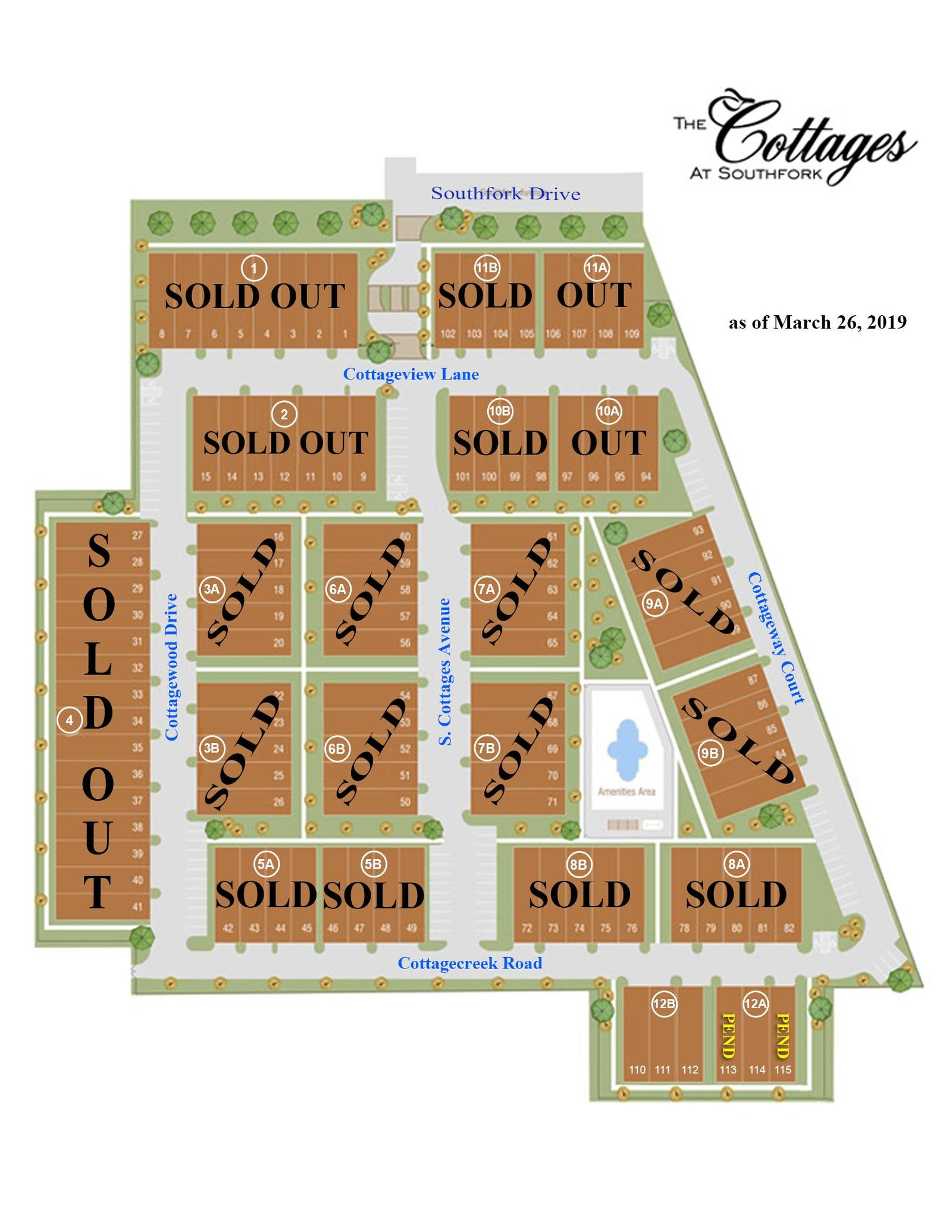 Cottages at Southfork Sales Map